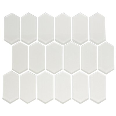 Stretched Hexagon Pearlescent Random Sized Glass Mosaic Tile in White