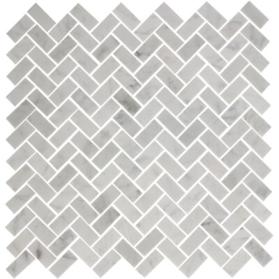Herringbone 0.5 x 1.25 Carrara Marble Mosaic Tile in White