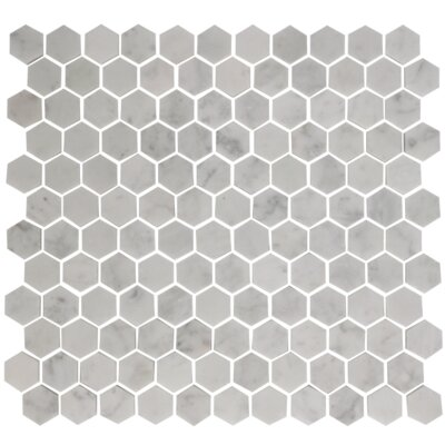 Hexagon Offset 1 x 1 Carrara Marble Mosaic Tile in White