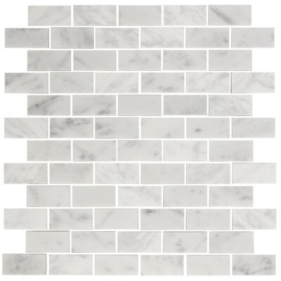 1 x 2 Carrara Marble Mosaic Tile in White