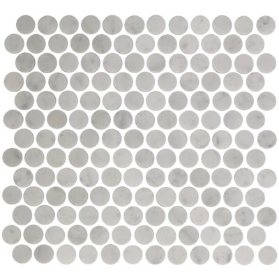Circle Offset Random Sized Carrara Marble Mosaic Tile in White