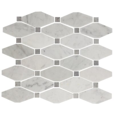 Octagon Offset Random Sized Carrara Marble Mosaic Tile in White/Gray