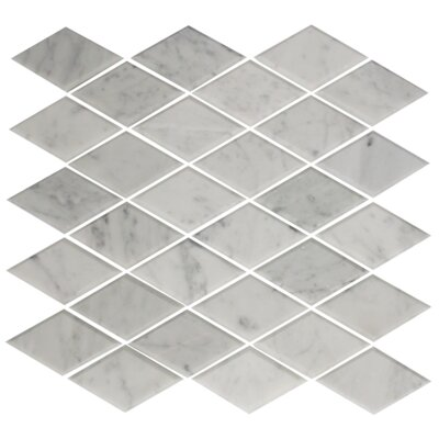 Diamond Offset Random Sized Beveled Carrara Marble Mosaic Tile in White