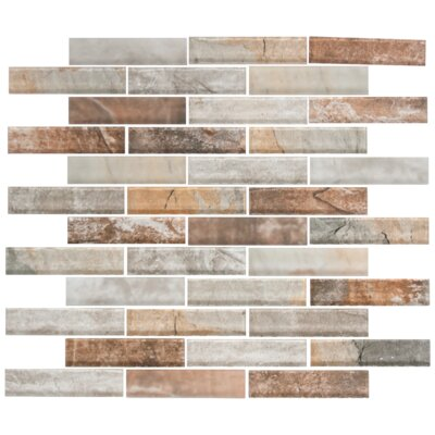 Umber Random Sized Glass Mosaic Tile in Gray/Brown
