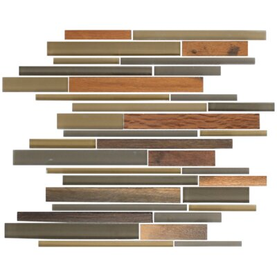 Random Sized Glass Mosaic Tile in Olive/Dark Gray