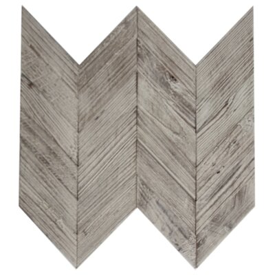 Chevron 2 x 4 Wood Look Glass Mosaic Tile in Brown/Gray