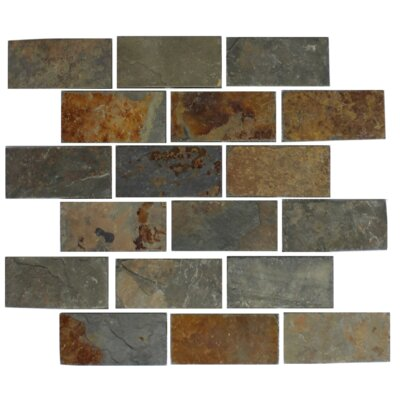 Rust 2 x 4 Slate Mosaic Tile in Gray/Brown