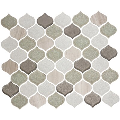 Teardrop Crackle Random Sized Glass Mosaic Tile in Light Gray/White