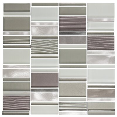 Modern Rectangle Random Sized Metal/Glass Mosaic Tile in Silver/Gray
