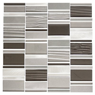 Modern Rectangle Random Sized Metal/Glass Mosaic Tile in Silver/Gray