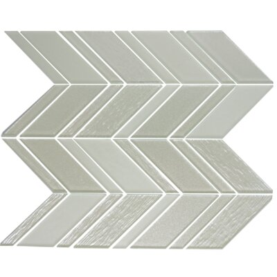 Chevron Random Sized Glass Mosaic Tile in Silver/White