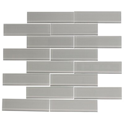 Lined 1.5 x 6 Glass Mosaic Tile in Gray