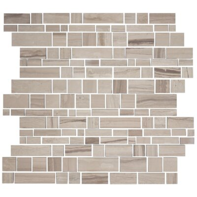 Random Sized Slate Mosaic Tile in Wooden White