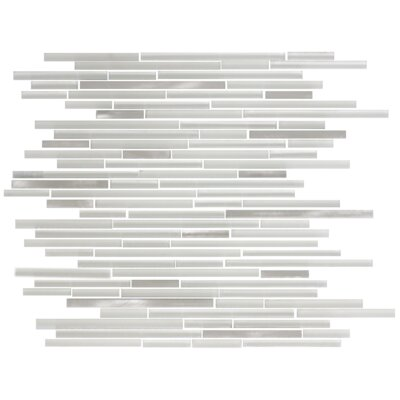 Random Sized Glass/Metal Mosaic Tile in White/Silver