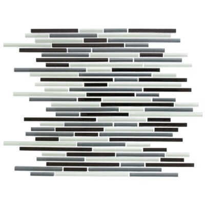 Random Sized Glass Mosaic Tile in Gray/Black