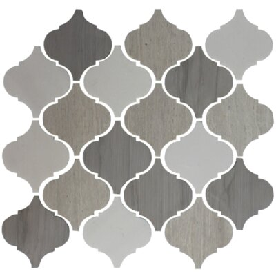 Teardrop Lined 4 x 4 Slate Mosaic Tile in Gray/White