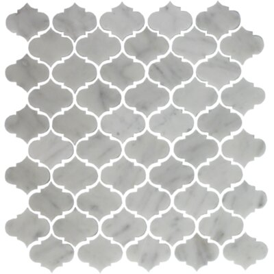 Carrara Mini Teardrop Random Sized Marble Mosaic Tile in White