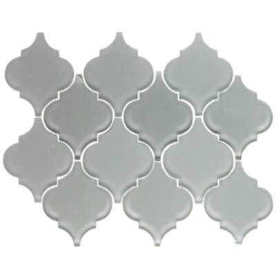 Teardrop Random Sized Glass Mosaic Tile in Gray