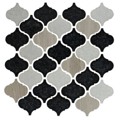 Teardrop Random Sized Glass Mosaic Tile in White/Black