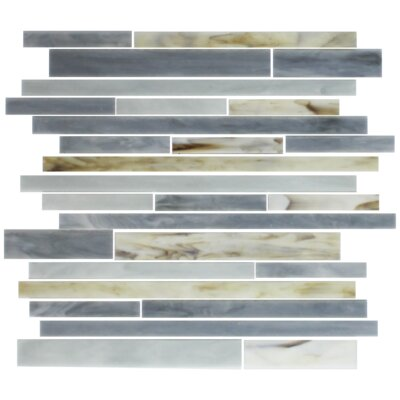 Stix Stained Random Sized Glass Mosaic Tile in Oyster Gray