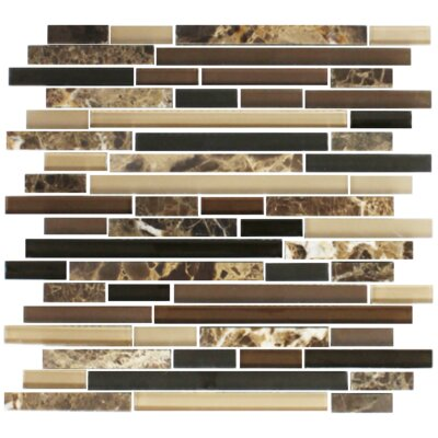 Random Sized Marble/Glass Mosaic Tile in Brown