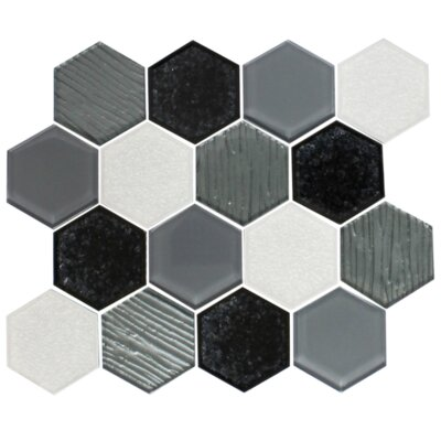 Crackle Hexagon Mix Random Sized Glass Mosaic Tile in White/Black