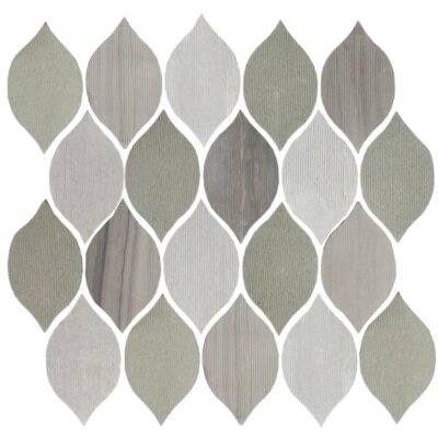 Oblong Teardrop 2 x 4 Slate Mosaic Tile in Gray