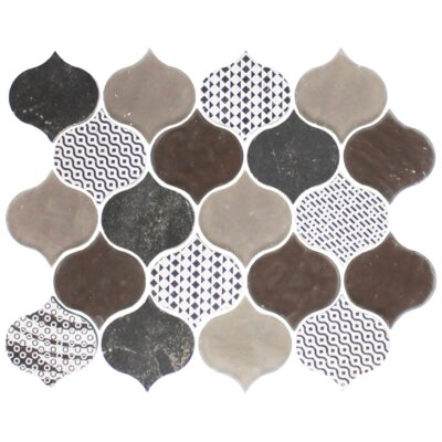 Teardrop Mixed Random Sized Glass Mosaic Tile in Brown