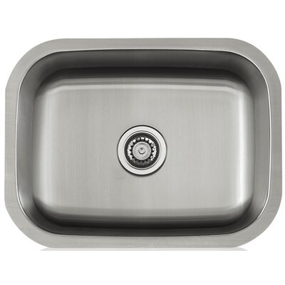 Apogee 23.38 x 9 Stainless Steel Single Bowl Undermount Kitchen Sink