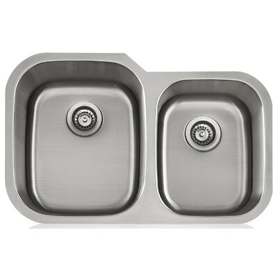 Apogee 31.63 x 9 Stainless Steel Uneqaul Double Bowl Undermount Kitchen Sink