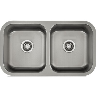 Apogee 32.38 x 9 Stainless Steel Equal Double Bowl Undermount Kitchen Sink