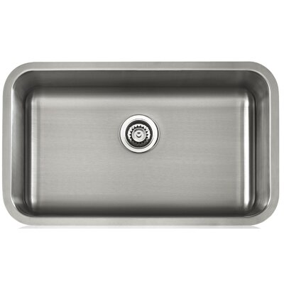 Apogee 30.13 x 9 Stainless Steel Single Bowl Undermount Kitchen Sink