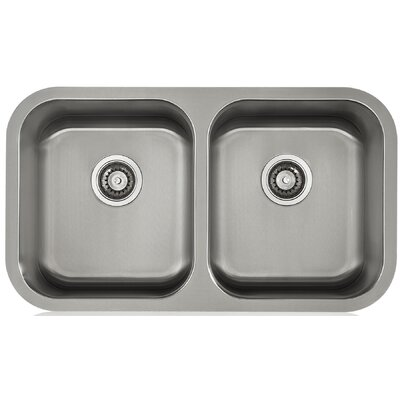 Apogee 32.25 x 9 Stainless Steel Equal Double Undermount Kitchen Sink