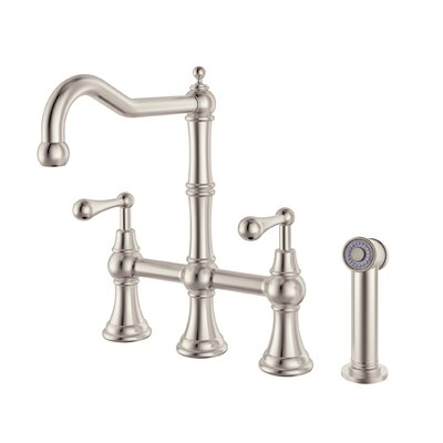 Double Handle Pull Down Kitchen Faucet with Side Spray