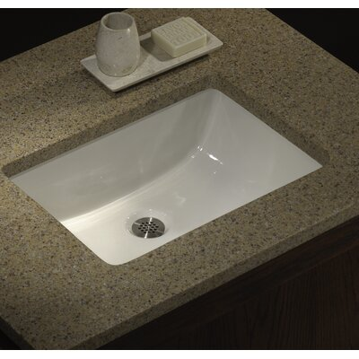 Porcelain Rectangular Undermount Bathroom Sink with Overflow Sink Finish: Bisque