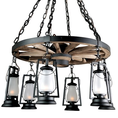 49er Series 6-Light Shaded Chandelier Finish: Painted Rust, Shade: Clear