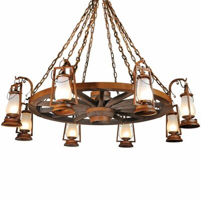49er Series 8-Light Shaded Chandelier Finish: Textured Black, Shade: Frosted