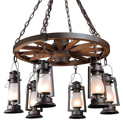 Pioneer Series 6-Light Shaded Chandelier Finish: Painted Rust, Shade: Clear