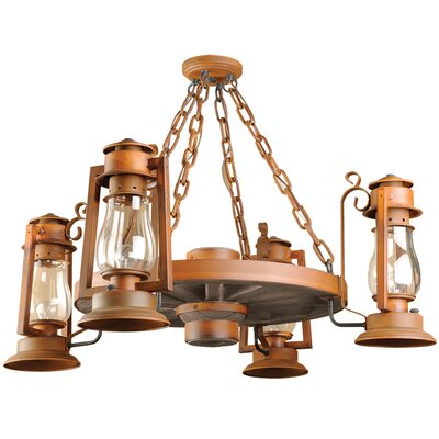 Pioneer Series 4-Light Shaded Chandelier Finish: Painted Rust, Shade: Clear