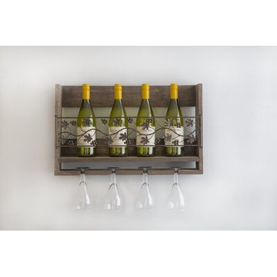 Grape 6 Bottle Wall Mounted Wine Bottle Rack