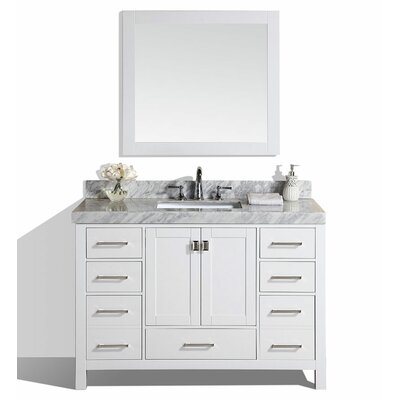 Malibu 61 Single Modern Bathroom Vanity Set with Mirror Base Finish: White