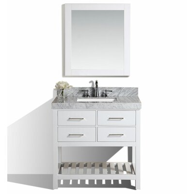 Laguna 41 Single Modern Bathroom Vanity with Mirror Base Finish: White