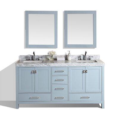 Malibu 61 Double Modern Bathroom Vanity with Mirror Base Finish: Gray