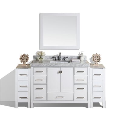 Malibu 72 Single Modern Bathroom Vanity with Mirror Base Finish: White