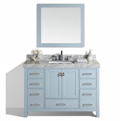 Malibu 61 Single Modern Bathroom Vanity Set with Mirror Base Finish: Gray