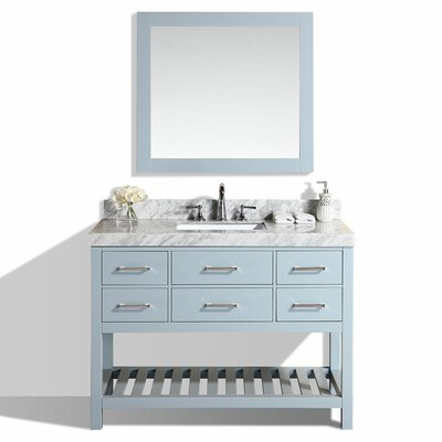 Laguna 49 Single Modern Bathroom Vanity Set with Mirror Base Finish: Gray