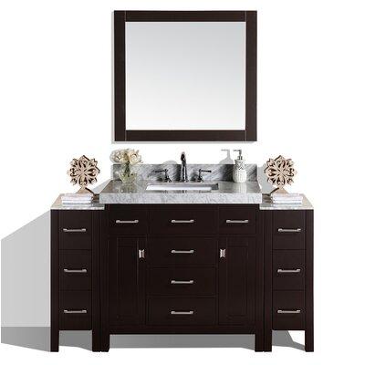 Malibu 41 Single Modern Bathroom Vanity with Mirror Base Finish: Espresso