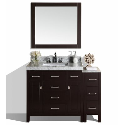 Malibu 41 Single Modern Bathroom Vanity with Mirror Base Finish: Espresso