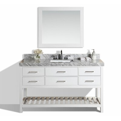 Laguna 61 Single Modern Bathroom Vanity with Mirror Base Finish: White