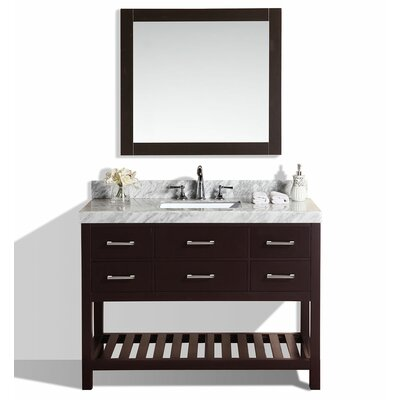Laguna 49 Single Modern Bathroom Vanity Set with Mirror Base Finish: Espresso